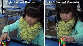 3 years old girl solves Rubik's cube  one-handed