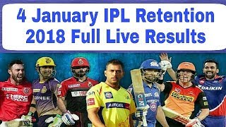 IPL Retention 4 January 2018: Live Full Results | CSK, MI, RCB, KKR, SRH, KXIP, DD, RR |
