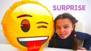 EMOJI Pinata Surprise with Surprise Eggs and Surprise Toys from EMOJI movie, Trols, Peppa pig