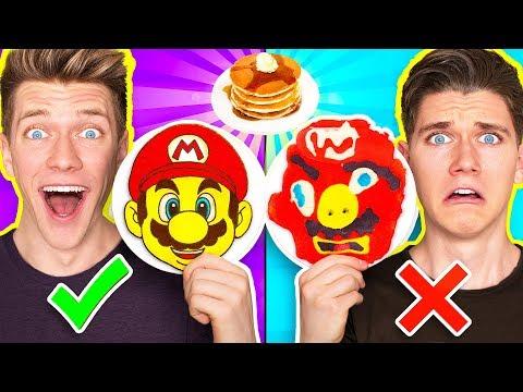 PANCAKE ART CHALLENGE 4 Learn How To Make Mario Odyssey Star Wars Jedi Nintendo Food DIY Pancake