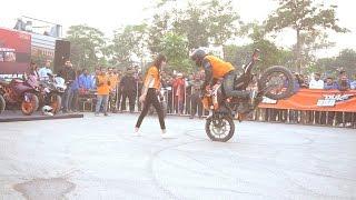 KTM Bike Stunts With Girls - KTM Boys VS Tanda Boys Bike Stunt Show 2016