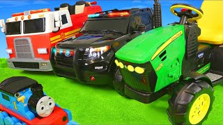 Fire Truck, Excavator, Tractor, Train & Police Cars Ride On Surprise Toy Vehicles for Kids