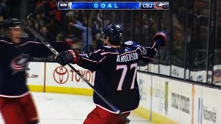 Brodie loses control of puck, Foligno feeds Anderson for OT winner