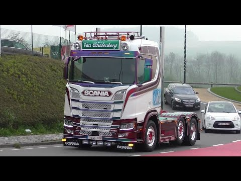 Truckshow Ciney 2017 with new Generation Scania V8 open pipes sound 4K UHD