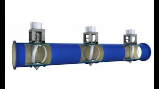 Hydropower in a Pipe. Turbines generate electricity from water flowing through municipal pipes.