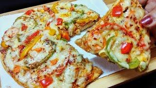 बिना ओवन के कढ़ाई मे पिज्जा बनाने का सबसे आसान तरीका   Cheese Pizza Recipe In Kadhai   Veg Pizza.