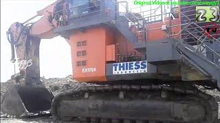 BIG TOYS Excavator Hitachi EX2600 Loading Burning Coal Into Mining Haul Trucks