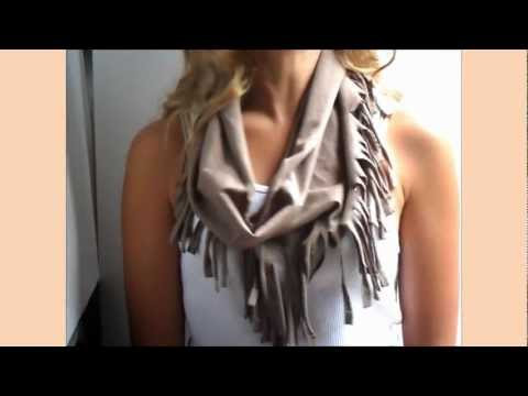 DIY Fringe Scarf from a T Shirt