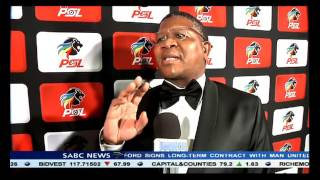 Sithole speaks to Minister Mbalula at the PSL awards in Kempton Park