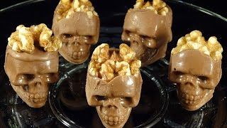 Candy Melt Demo #12:  Chocolate skulls with walnut brains