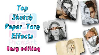 How To Edit Photo On Picsart | SKETCH PAPER TORN EFFECT | Mobile Editing tutorial