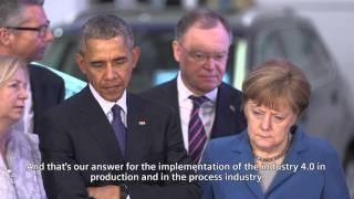Obama and Merkel visit Siemens at Hannover Messe