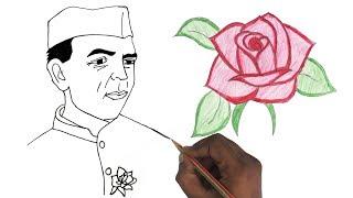 How to Draw Nehru & Rose | Children