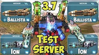 War Robots Test Server: NEW BOTS Mercury, Persuer & WEAPONS Ion, Ballista WR 3.7 Gameplay