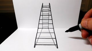 How to Draw a 3D Ladder in Perspective - Optical Illusion Trick Art
