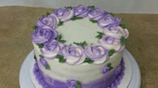 Simple ROSETTE OMBRE CAKE. Cake Decorating.