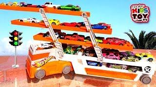Cars for kids. Toys Transporter, Fire truck, Ambulance, Educational Videos for children TaTaToysShow
