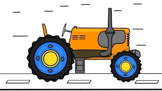 Learning Colors #Tractor Drawing | Video for kids | Kolory Dla Dzieci - Traktor rysunek i animacja