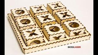 Laser Cut Wood (Birch) Tic-Tac-Toe Game Board - FREE File Download