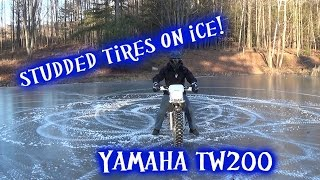 Studded tires on ice! Modified Yamaha TW200