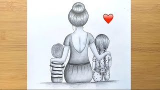 How to draw A Mother and her baby's - step by step || Pencil Sketch