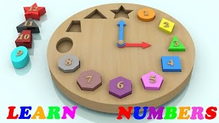 Learn Colors and Number with Wooden Shape Sorting Clock Educational Toys - Learning Videos For Kids