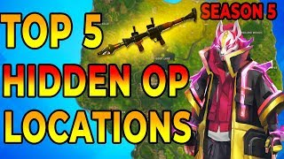 *NEW* BEST 5 HIDDEN OP PLACES To LAND For EASY WINS and Loot (Fortnite Map Season 5)