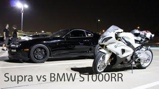 BMW 1000RR vs Toyota Supra on the highway (HD)
