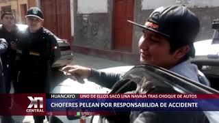Huancayo: Taxistas pelean tras chocar sus autos
