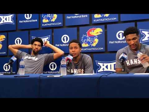 Kansas players after KU's win over South Dakota