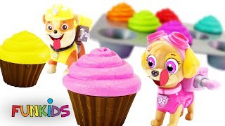 Learn Colors with Paw Patrol Cupcakes Sprinkles Icing & Gumballs