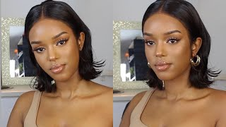 90's INSPIRED BROWN/NUDE SIMPLE MAKE UP LOOK | Only Bells
