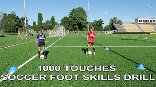 1000 Soccer Touches Foot Skills Drill / Warm Up | 10 different foot skills