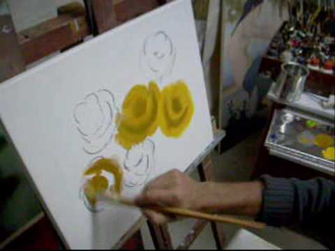 Aula 01 5 Video aula pintura em tela rosas Marcio Monteiro