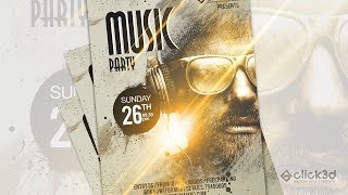 Music Party Poster Design in Photoshop | click3d
