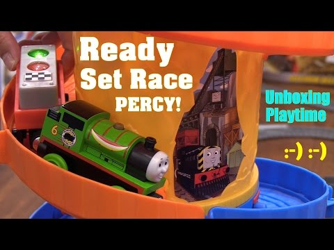 Thomas & Friends Ready Set Race Percy Wooden Railway Trackmaster and Take N Play Trains