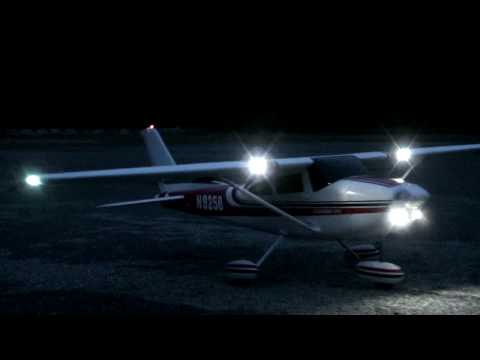 Cessna and Trojan with Scale Lighting, doing some close circuits in the dark