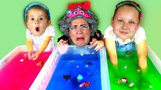 GELLI BAFF SLIME CHALLENGE GAME!! Greedy Granny,  LOL Dolls & Disney Toys