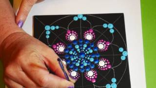 How to paint rock mandalas- #12 stained glass design