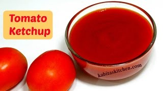 Tomato Ketchup Recipe | Homemade Tomato Sauce | Sweet Spicy n Tangy Tomato Ketchup | kabitaskitchen