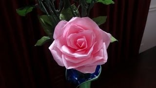 How to make tissue paper rose flower with wrapping method / Valentine's day craft