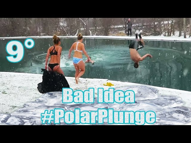 INSANE POLAR PLUNGE SNOW CHALLENGE! (Polar Bear Plunge Snow Challenge First Swim of the Year 2017)