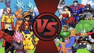 Anime vs Justice League & Avengers 2! (Beerus, Goku, Jiren, Saitama vs Hulk, Superman, Batman, Thor)