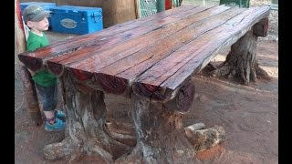 With a Chainsaw I Make a Rustic Log Furniture Table, using Tree Stumps for the Table Legs.