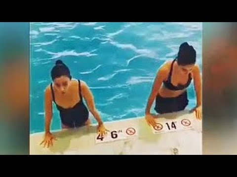 Katrina Kaif And Alia Bhatt Hot Workout In Swimming Pool