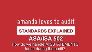 Dealing With MISSTATEMENTS Discovered During The Audit - ASA/ISA 450