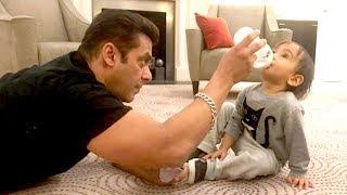 Salman Khan Feeding & Playing With Ahil In London Hotel Room  Super CUTE Video- Dabangg Tour 20
