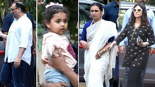 Kajol,Rani Mukherji With Daughter Adira,Aditya Chopra At Rani Mukherjee's Father's Shradh