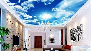3D Wall Mural Blue Sky False Ceiling For Living Room