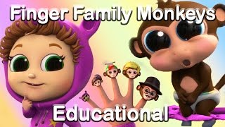 Finger Family Song with the 5 Little Monkeys (Learn Numbers) | Educational Nursery Rhymes